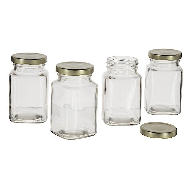 små burkar i glas